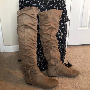 JustFab Shoes - Taupe over the knee boots
